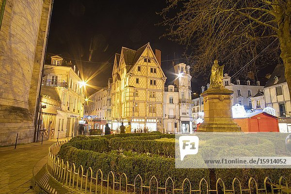 Angers Loire valley France on December 26  2019. Adams house  Oldest half-timbering house of Angers. Ste Croix square.
