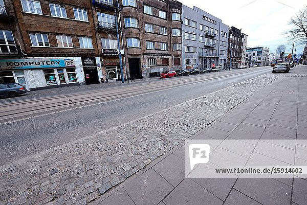 Europe  Poland  Lodz  March 2020  empty streets of city center during the coronavirus pandemic  Piotrkowska street.
