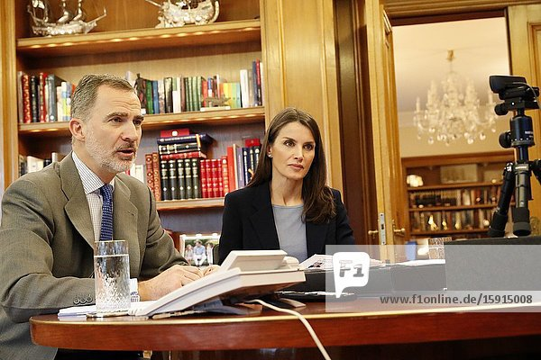 King Felipe VI of Spain  Queen Letizia of Spain attends viodeoconference with the president of the Spanish Food Bank Federation. He has told them that  with # COVID19  a large number of people are likely to suffer from severe poverty at Zarzuela Palace on April 7  2020 in Madrid  Spain