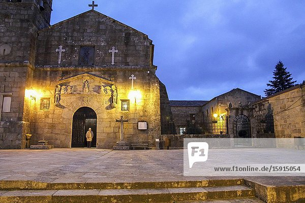 The historical and monumental center of the capital of Albarino wine  Cambados  Fefinanes Square. San Benito church by night.