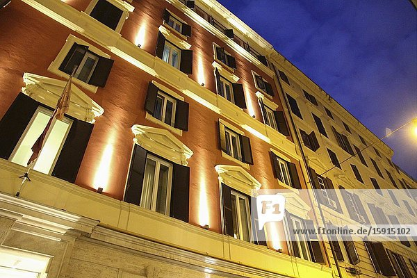 Hotel facade in the blue hour in Rome  Italy.
