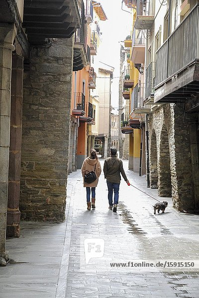 La Seu d Urgell in Alto Urgell Pyrenees mountains Catalonia Spain. Old arcades at main street.