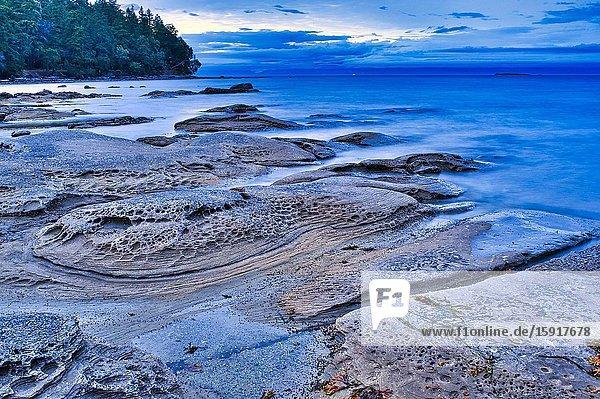 Sandstone formations at McKay Point  Newcastle Island Provincial Marine Park  Nanaimo  British Columbia  Canada.