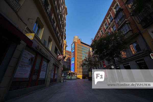 Preciado Street with El Corte Ingles Building during the confinement due to the national emergency caused by Covid-19 on April 12  2020 in Madrid  Spain.The day before workers on Spain they return theirs non-essential works