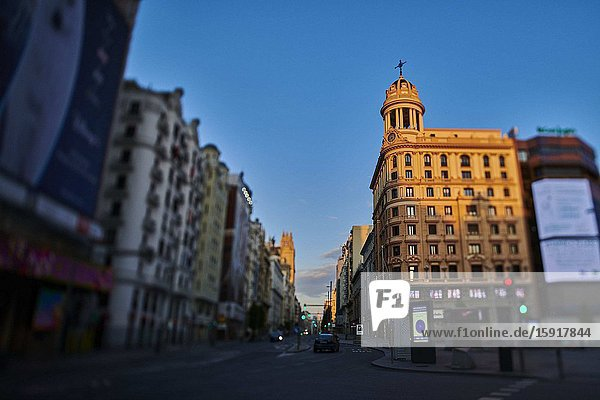 Callao Square and Gran Via Street during the confinement due to the national emergency caused by Covid-19 on April 12  2020 in Madrid  Spain.The day before workers on Spain they return theirs non-essential works