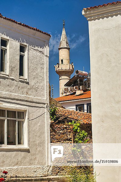 Alaybey Mosque minaret  Bolzcaada  Turkey.