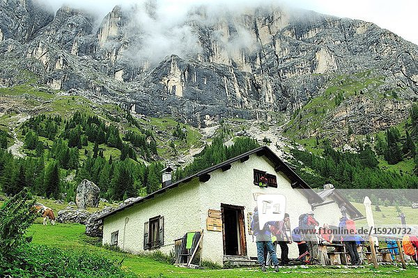 The Malga Ombretta is a shelter in the Val Ombretta (Valley of Ombretta) in the Dolomites. They are a mountain range declared a UNESCO World Heritage Site. Trentino province  Italy