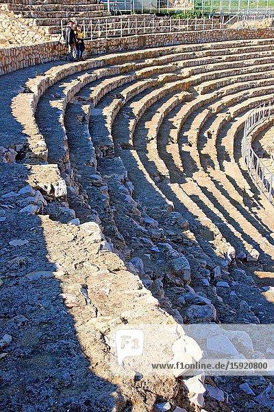 Stone steps  ruins   Roman amphitheater  Tarragona  Catalonia  Spain