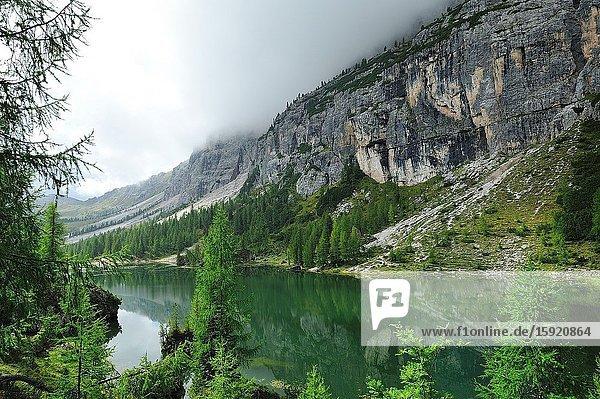 The lake Croda da Lago in the Dolomites. It is a mountain range declared a UNESCO World Heritage Site. Trentino province  Italy