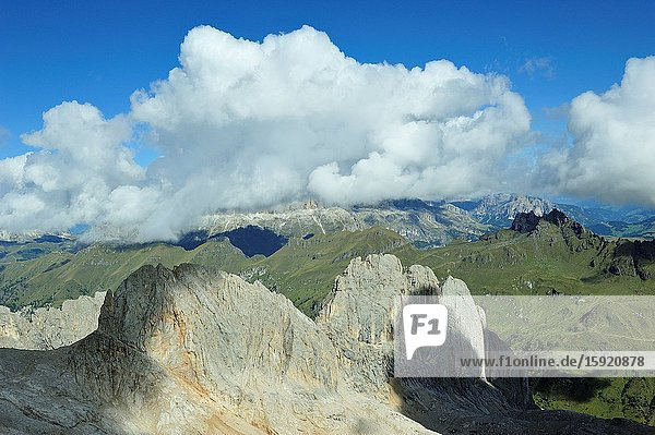 The view from Punta Rocca  one the summits of the Marmolada  the higest mountain of the Dolomites. They are a mountain range declared a UNESCO World Heritage Site. Trentino province  Italy
