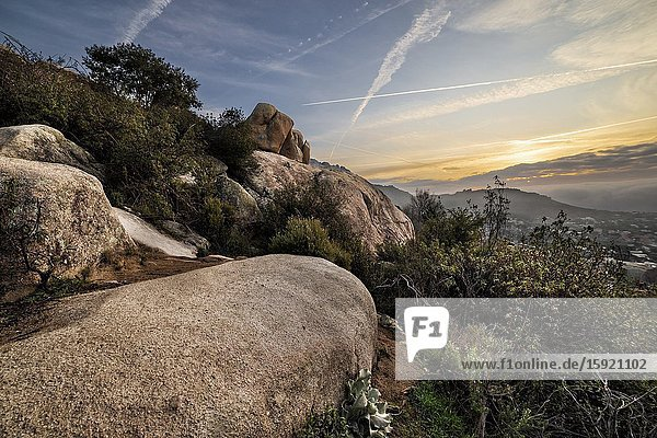 Sunrise at The Pedriza Regional Park from The Tranco Cliffs. Madrid. Spain. Europe.