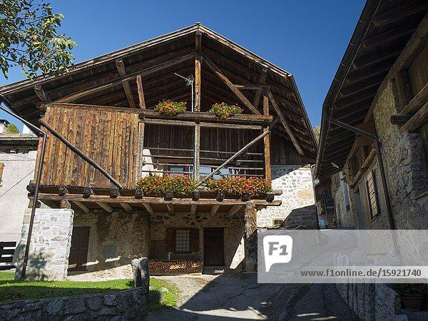 Medieval village Iron in the Dolomiti di Brenta  part of UNESCO world heritage Dolomites. Europe  Italy  Trentino.