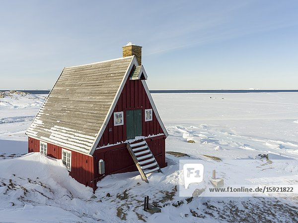 Museum located in buildings dating back to the founding of the colony. Winter in the town of Upernavik in the north of Greenland at the shore of Baffin Bay. America   Denmark  Greenland.