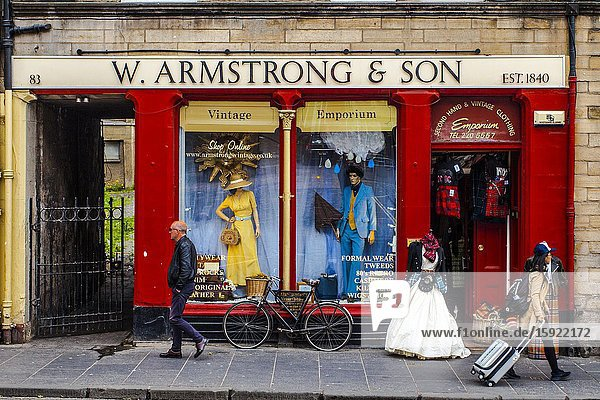 Second-hand and vintage clothing store  On the Corner of West Bow and Grassmarket  Old Town  Edinburgh  Scotland  United Kingdom  Europe.
