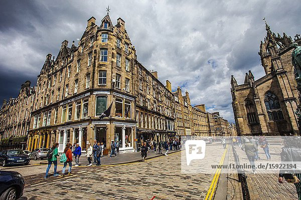 At right St Giles Cathedral  High street  Royal Mile  Old Town  Edinburgh  Scotland  United Kingdom  Europe.