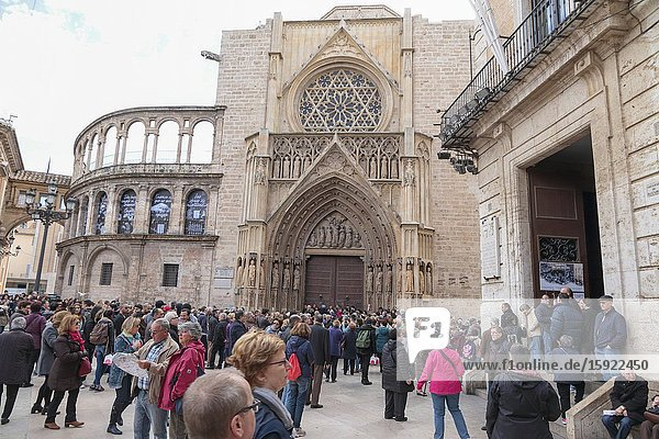 Square of Saint Mary's Plaza de la Virgen with the cathedral in Valencia in Spain Tribunal de las Aguas ceremony on March 10  2016.