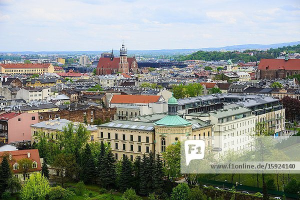 View of Krakow from Royal Cathedral St. Stanislaus Wawel Castle Krakow Poland King Casimir EU Europe UNESCO.