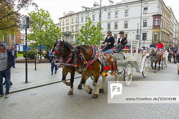 Carriage ride Old Town Krakow Poland Europe EU.