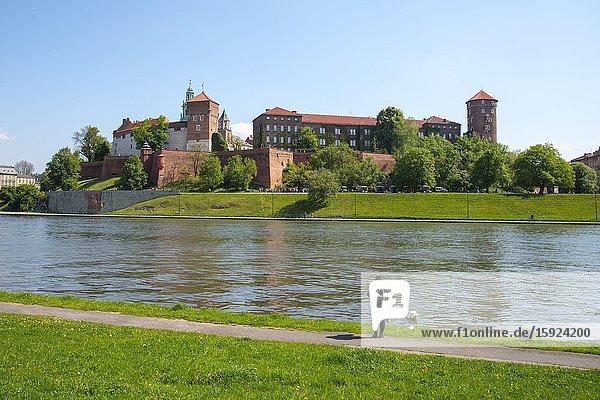 Royal Cathedral St. Stanislaus Wawel Castle on Vistula River Krakow Poland King Casimir EU Europe UNESCO.