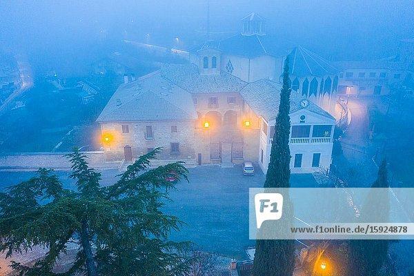 Nuestra Señora del Puy church in the mist. Estella  Navarre  Spain. Europe.