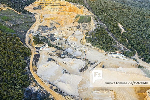 Quarry. Aerial view. Ancin area. Navarre  Spain  Europe.