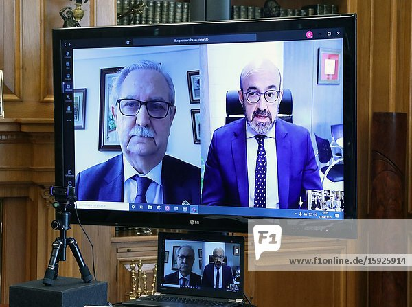 King Felipe VI of Spain  Queen Letizia of Spain attend a videoconference with managers of the Spanish Society of Geriatrics and Gerontology and the Medical Profession Forum at Zarzuela Palace on April 22  2020 in Madrid  Spain