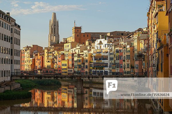 The Houses on the River Onyar and St. Felix church  Girona  Catalonia  Spain  Europe