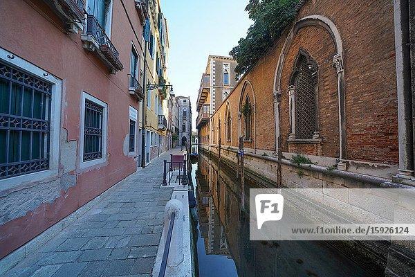 Small canal near Campo Santo Stefano during Coronavirus lockdown  Venice  Italy  Europe
