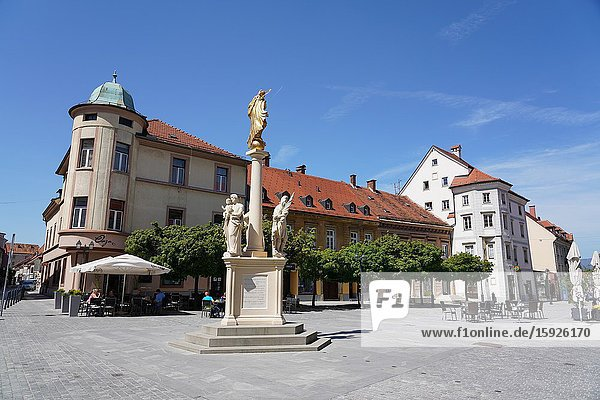 The main square and the plague column in Celje  Styria  Slovenia  Europe