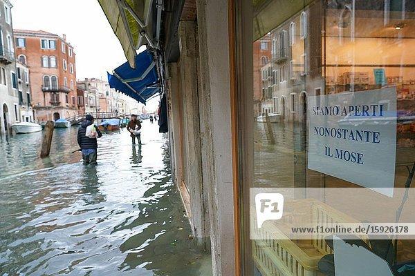 High tide in Venice  Fondamenta della Misericordia  november 2019  Venice  Italy  Europe