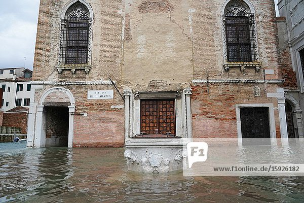 High tide in Venice,  the well of the Church of the Abbey of Misericordia,  november 2019,  Venice,  Italy,  Europe