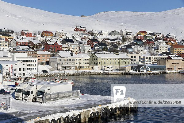 Honningsvag is the northernmost city of Norway. Nordkapp municipality Finnmark county. Norway.