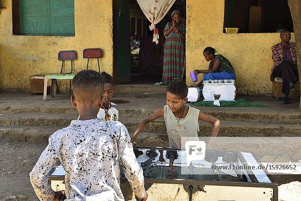 Ethiopia  Tigray  Adi Arkay  Boys playing Babyfoot.
