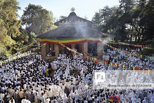 Ethiopia  Gonder  World Heritage Site  Debre Berhan Selassie church  Holy Trinity mass.