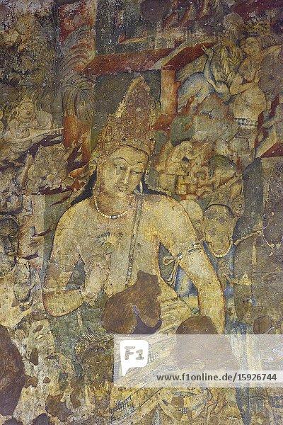 India  Maharashtra  World Heritage Site  Ajanta  Cave 1 (6th C)  Bodhisattva Padmapani with lotus.