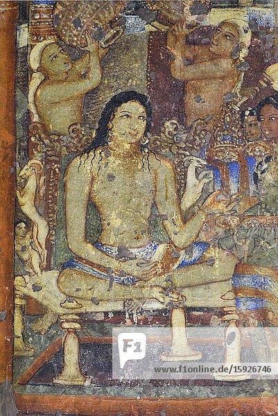 India  Maharashtra  World Heritage Site  Ajanta  Cave 1 (6th C)  Sibi Jataka : King Sibi  previous incarnation of Buddha undergoes the traditional rituals for renouncers and receives a ceremonial bath. [.