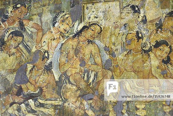 India  Maharashtra  World Heritage Site  Ajanta  Cave 1 (6th C)  Mahajanaka Jataka tale. Departure of King Mahajanaka  previous incarnation of Buddha .