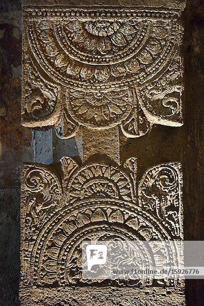 India  Maharashtra  World Heritage Site  Ajanta  Cave 23  Monastery  Elaborately carved pillar.