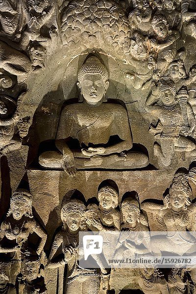India  Maharashtra  World Heritage Site  Ajanta  Cave 26 (5th C)  Temptation of the Buddha by the daughters of demon king Mara carved below.
