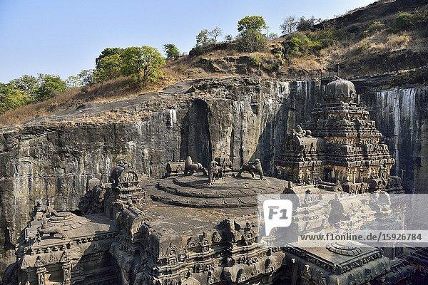 India  Maharashtra  World Heritage Site  Ellora  Kailasha rock hewn temple (8th C)  The Mandapa roof.
