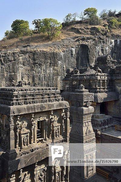 India  Maharashtra  World Heritage Site  Ellora  Kailasha rock hewn temple (8th C).