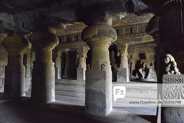 India  Maharashtra  World Heritage Site  Ellora  Cave 2  Buddhist monastery.