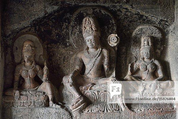 India  Maharashtra  World Heritage Site  Ellora  Cave 12  Bodhisattva Padmapani (Avalokiteshvara) with two Taras.