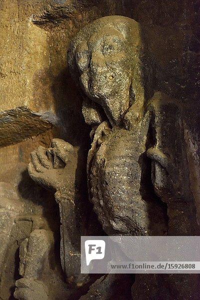 India  Maharashtra  World Heritage Site  Ellora  Cave 14  Goddess Kali.