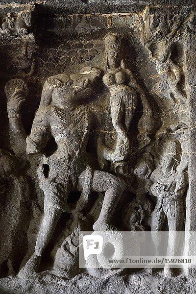 India  Maharashtra  World Heritage Site  Ellora  Cave 14  Vishnu shaped Varaha saving the goddess Earth from the flood.