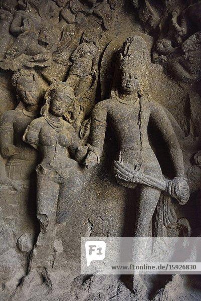India  Maharashtra  Mumbai (Bombay)  World Heritage Site  Elephanta caves  Marriage of Shiva and Parvati.
