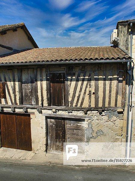 Medieval stone and half-timbered building  Lauzun  Lot-et-Garonne Department  Nouvelle Aquitaine  France.