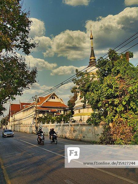 Wat Chaisripoom and Chaisripoom Road  Chiang Mai  Thailand.