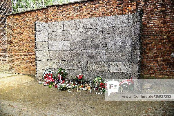 Death Wall Auschwitz Birkenau Concentration Camp OŠ›wiÄ. cim Museum Southern Poland Europe EU UNESCO.