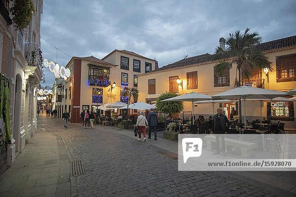 Santa Cruz de la Palma in La Palma island Canary islands Spain on December 11  2019: Christmas lights in the colonial city with Canarian balconies.